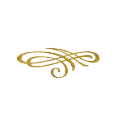 Glitter gold flourish element vector