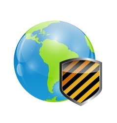 Globe Icon with Protection Shield vector