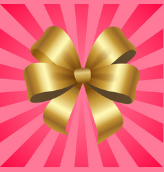 Gold decorative bow isolated vector