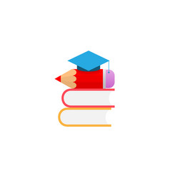 graduation cap book and pencil on white vector image