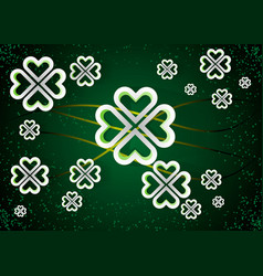 green background with four leaf clovers st vector image