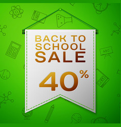 Grey pennant back to school sale forty percent vector