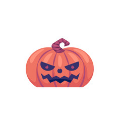 halloween carved pumpkin with scary face emotion vector image