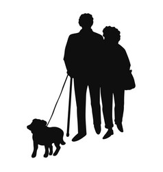 Happy couple senior people walking with dog vector