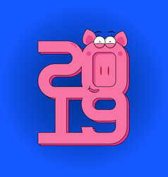 Happy new year - greeting card with pink pig and vector
