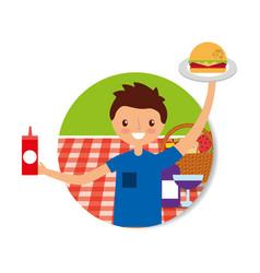 Happy people picnic vector