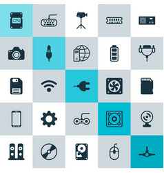 Hardware icons set collection of wireless vector