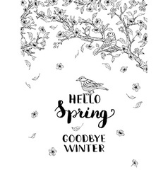 Hello spring goodbye winter vector image