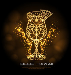 hipster polygonal cocktail blue hawaii neon sign vector image