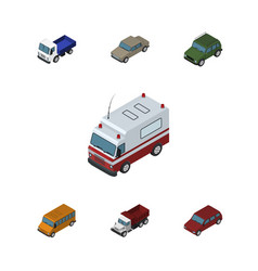 Isometric automobile set of lorry autobus car vector