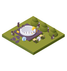 Isometric large outdoor spa pool in backyards vector