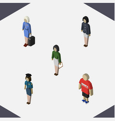 Isometric person set of pedagogue guy girl and vector
