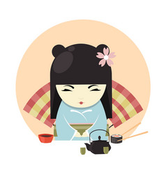 japanese geisha character in kimono clothing and vector image