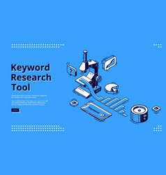 keyword research tool banner with microscope vector image