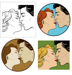 Kiss of a man and a woman vector