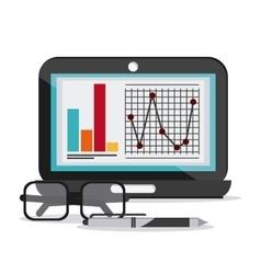 Laptop document infographic glasses pen icon vector