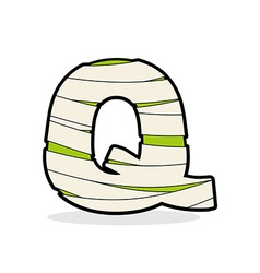 Letter q monster zombie alphabetical icon medical vector