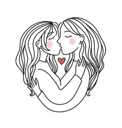 lgbt lesbian family concept kiss and hug sticker vector image