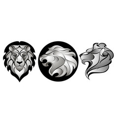 Lions set lion head logo vector