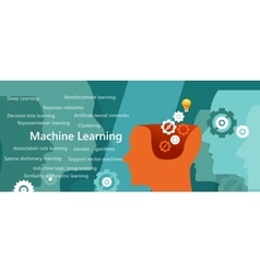 machine learning algorithm concept with related vector image