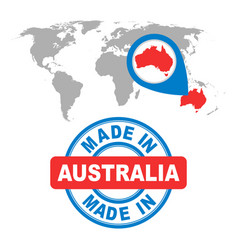 made in australia stamp world map with red vector image