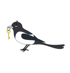 magpie with key cartoon image vector image