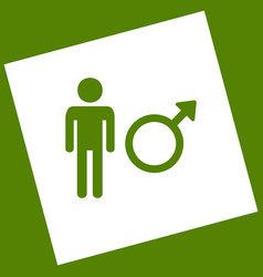 male sign white icon vector image