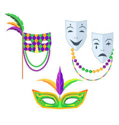 mardi gras carnival masks isolated vector image
