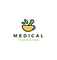 medical tea leaf mortar pestle cup drink herb vector image