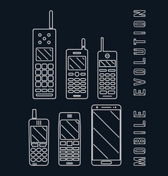 mobile phone - smartphone evolution line design vector image