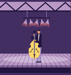 Musician man with cello on stage vector