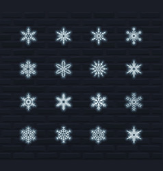 neon snowflakes icon set vector image