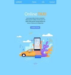 Online taxi flat mobile landing smartphone screen vector