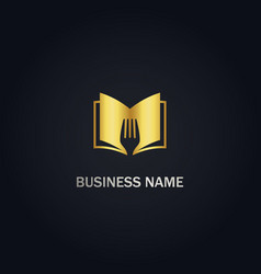 open book fork food recipe gold logo vector image