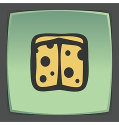 Outline sliced cheese circle icon Modern vector