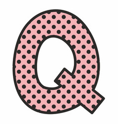 Q alphabet letter with black polka dots on pink vector