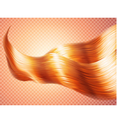 Realistic silky wavy hair of red ginger bronze vector
