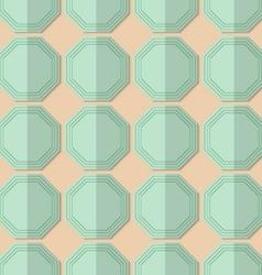 Retro fold light green octagons vector image