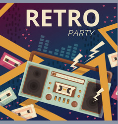retro radio poster typography design camera music vector image