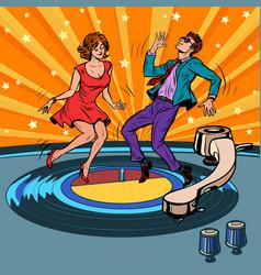Retro vinyl record a couple dancing music party vector