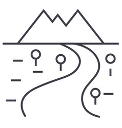 Road to mountains line icon sign vector