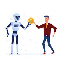 robot steals money from sad man vector image