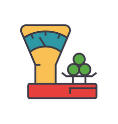 scales counter shop flat line vector image