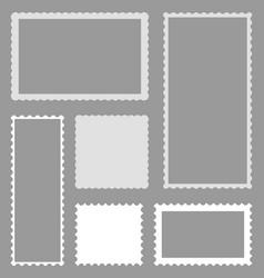 Scallop postcard border rectangle template vector
