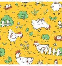 Seamless pattern with chickens and eggs vector