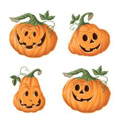 set halloween pumpkins funny faces autumn vector image