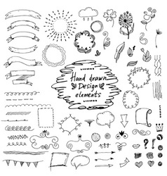 Set of hand drawn design elementsornamentsfloral vector