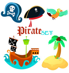 Set of pirate objects - vector