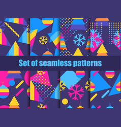 set of seamless pattern memphis with snowflakes vector image