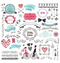 Set of vintage hand drawn wedding design vector